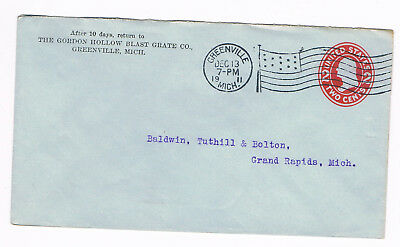 USA Postal Cover 2c 1911 used to Grand Rapids with fancy FLAG CANCEL (A5/58)