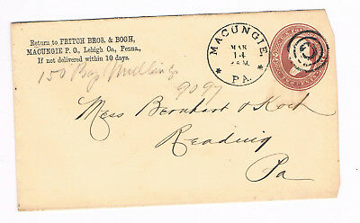 USA Postal Cover 2c 1889 used to Reading from Macunie with fancy CANCEL (A5/61)