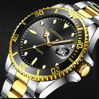 Fashion Men Military Sport Watch Stainless Steel Date Quartz Analog Wrist Watch