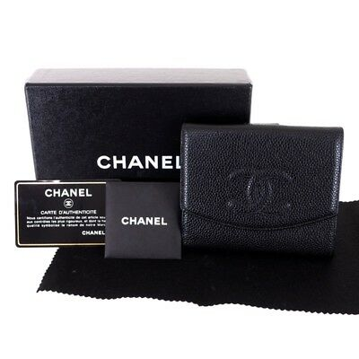 Vintage Chanel Black Caviar Double Sided Excellent Full Set Wallet.NFV4665