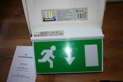 Emergency Exit Box 8W Light Fire Exit Sign Non Maintained  NEW (tatty box)