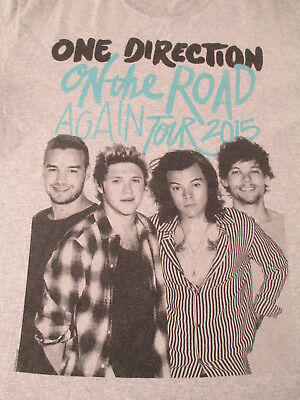 One Direction On The Road Again 2015 Tour Gray Black Mint T Shirt Size M Medium