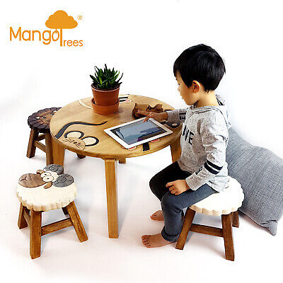 Set of 5 Solid Wood Timber Kids Toddler Study Dining Table Suite Chalkboard Game