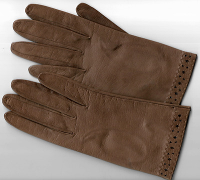 """Vintage Pair of Tan leather gloves with  wrist detail just over 8"""" in length"""