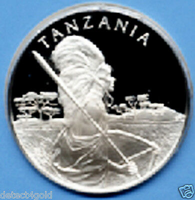 BEAUTIFUL PROOF Tanzania Silver Coin Medal W/ Postage Stamp Cover