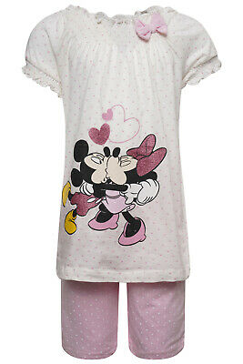 Girls Minnie Mouse Pyjamas Pajamas Pjs Pj  Short Sleeve Leg Summer Nightwear