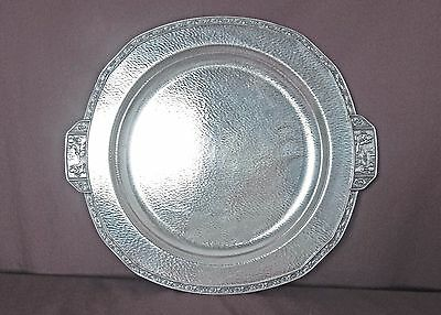 Egyptian Revival Silver Plated 15 Inch Tray Figural Handles
