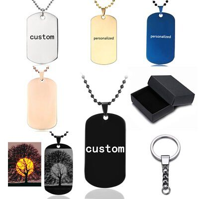 New Stainless Steel Personalized Custom Engraved Dog Tag Photo Necklace Keychain
