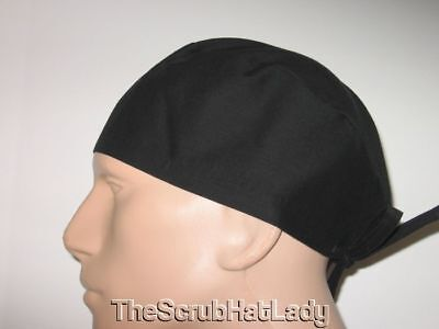 Scrub Hat Men's Surgical Cap Solid Black Tie Back