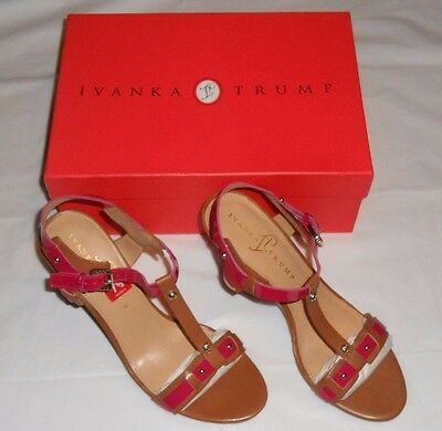 82efda292 Women's Ivanka Trump Bray Wedge Sandals Red Leather Size 7.5 M - New In Box