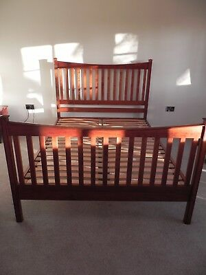 King Size Wooden Bed Frame Antique Cherry VGC Cotswold Caners From John Lewis