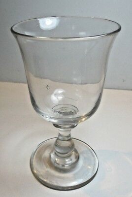 Antique Victorian  Wine Glass  Hand Blown Stem Ground Pontil Mid 1800's