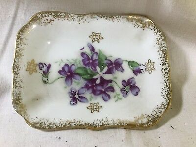 Lefton? Purple Violet Trinket Dish Hand Painted