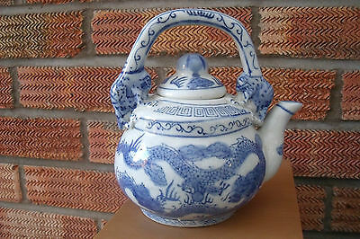 Chinese Pottery Tea Pot decorated with Dragons with Frog or Foo Dog Handle.