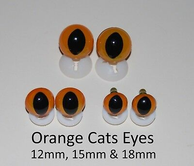 ORANGE CATS EYES PLASTIC BACKS - Teddy Bear Making Soft Toy Doll Animal Craft