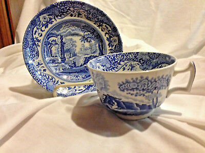 Spode Blue Italian Cup And Saucer  Ascot Cup C1816T Saucer C1816S England