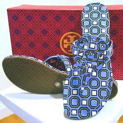 ef4aa35a442276 LAST ONE New Tory Burch MILLER SANDAL Light Chambray BLUE Octagon Square 10  NIB