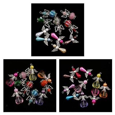 10Pcs New Charms Mixed Dancing Angel Wings Teardrop Heart Beads Pendants 22x31mm