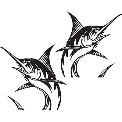 "(2x) 10"" Blue Marlin Sportsman Saltwater Offshore Florida Fishing Boat Stickers"
