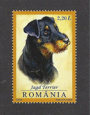 Dog Art Head Portrait Postage Stamp JAGD GERMAN HUNT TERRIER Romania 2005 MNH