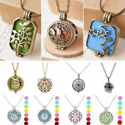 Hollow Locket Fragrance Essential Oil Necklace Aromatherapy Diffuser Pendant New