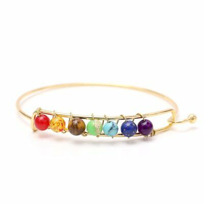 7 Chakra Healing Yoga Reiki Stones Balance Beaded Cuff Bracelet Braided Bangle