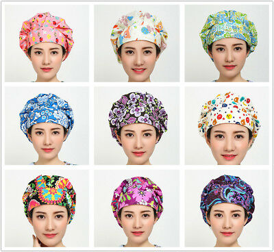 Women's Surgical Hat Scarf Bouffant Medical Scrub Cap Ponytail Cover