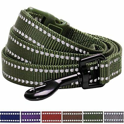 Durable 3m Reflctive Dog Lead 150 Cm X 1.5cm In Olive Green, Small, Leads For Do