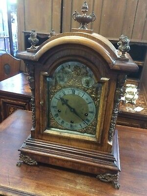 Antique 19th Century Walnut Cased German Intricate Gilt Detailed Bracket Clock