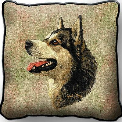 "17"" x 17"" Pillow - Alaskan Malamute by Robert May 1178"