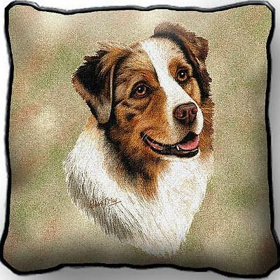"17"" x 17"" Pillow - Australian Shepherd by Robert May 1183"
