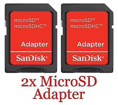 SanDisk SD Adapter 2x, MicroSD Micro SD Adaptor Memory Card Adapter Reader NEW