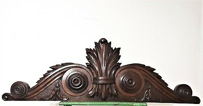 Gothic Scroll Leaves Pediment Antique French Hand Carving Architectural Crest