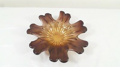 Vintage Hand Blown Brown and Amber Sunflower Look Art Glass Bowl
