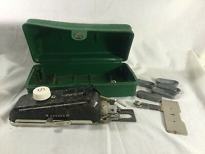 VINTAGE SINGER HAND Held Sewing Machine With Attachments Button Custom Singer Hand Sewing Machine