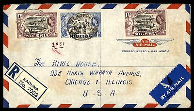 1957 Kaduna May 21St Air Mail Registered Cover To Chicago Il Usa
