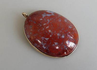 Antique 14k gold banded red moss  agate pendant