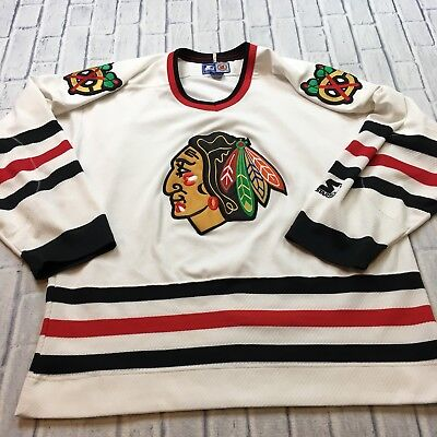 90s VTG STARTER Chicago BLACKHAWKS Jersey XL Sewn WHITE Stitched OG NHL Hip  Hop 6bc9916a0