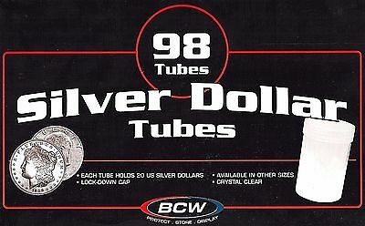 100 - 2 (98) BCW Round Coin Tube Silver Large Dollar Tubes Morgan Peace Ike