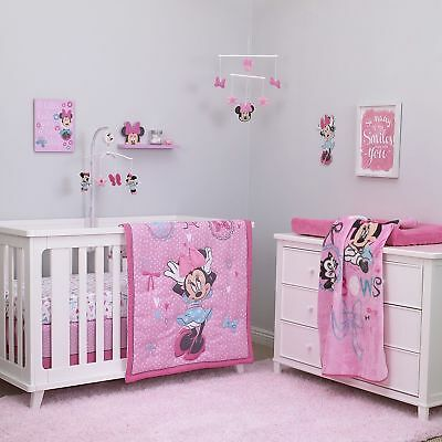 5p Disney Baby Girls Minnie Mouse Crib Bedding Comforter Set + Musical Mobile