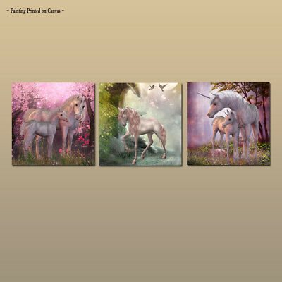 Large Wall Decor Art Painting Animal horse unicorn Picture Printed on Canvas 3pc