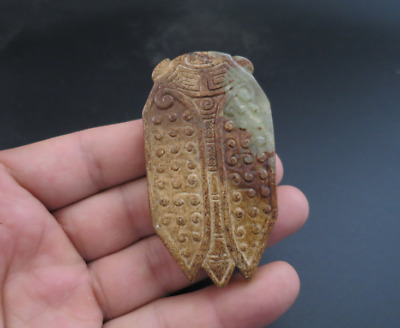 Old Chinese HongShan culture jade hand-carved cicada amulet pendant Y3268