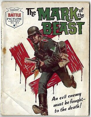 """Dated 1961. Vintage BATTLE PICTURE LIBRARY Comic #21. """"Mark of the Beast"""""""