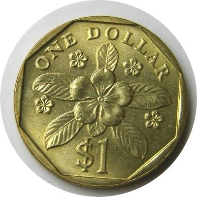 elf Singapore 1 Dollar 1995  Periwinkle Flower