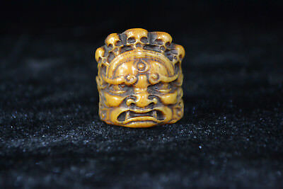 chinese Collectible Old 0x horn handwork carve Buddha Noble Skull Ring noble