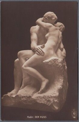 c1915 Postcard August Rodin Sculpture Nude Couple The Kiss