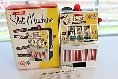 WEMCO Boxed Desktop Slot Machine Coin Bank w Batteries,Can Operate Without Coins