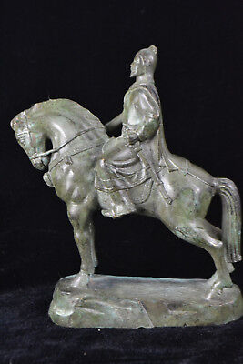 Chinese Collectible handwork Old man general horseback rare big copper statue