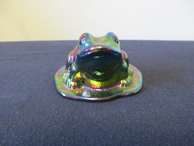 Iridescent Blue Green Glass Frog Figurine / Paperweight on Lily Pad