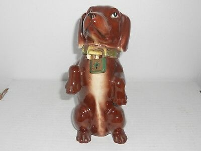 Dachshund Norcrest Ceramic DOG Bank Original Sticker, Japan No Key Latch Broken